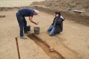 Trench 1 section across linear feature.